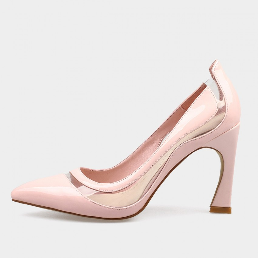 abb57c239ec4 ... Jady Rose Transparent Side Panel Leather Pink Pump (16DR1-0046) ...