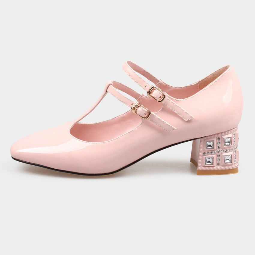 7f45385a3ef0 ... Jady Rose Crystal Block Dual Strap Leather Pink Pump (16DR1-0052) ...