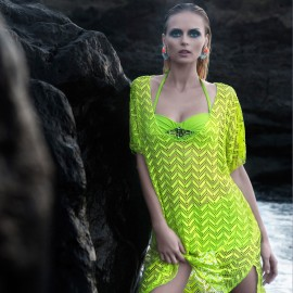 Balneaire See Through One Piece Horizontal Zig Zag Fluorescent Green Veil (30091)