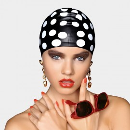 Balneaire Streamline Exaggerate Polka Dots Black Swimming Cap (30146)