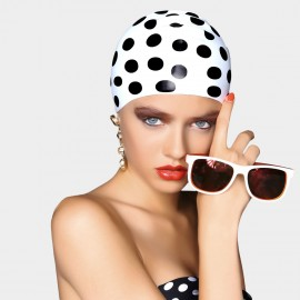 Blaneaire Streamline Exaggerate Polka Dots White Swimming Cap (30146)