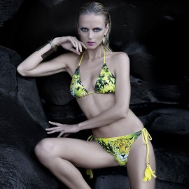 Balneaire Leopard Boa Halter Neck Tied Know Yellow Bikini Swimming Suit (82793)