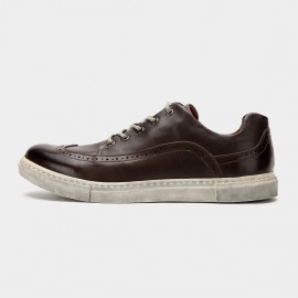 Herilios Vintage Leather Chocolate Brown Sneakers (H6105D07)