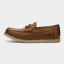 Herilios Contrast Stitch Braid Twist Suede Penny Brown Loafers (H6105D12)