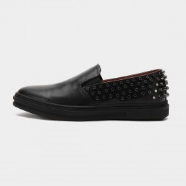 Herilios Hot Studs Leather Black Loafers (H6105D18)