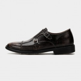 Herilios Double Monkstrap Leather Brown Loafers (H6105D23)