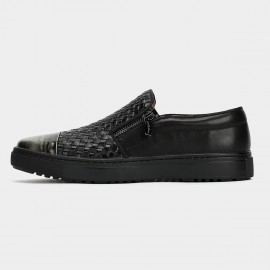 Herilios Square Knits Zipper Black Loafers (H6105D32)