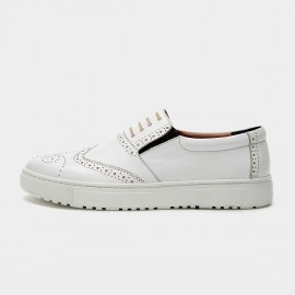 Herilios Simple Hollow Leather White Loafers (H6105D36)