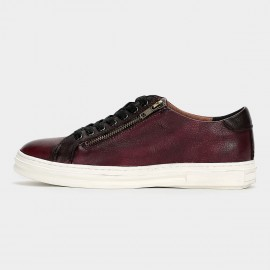 Herilios Striking Leather Metal Zipper Wine Sneakers (H6105D40)