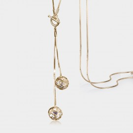Caromay T Buckle Crystal Ball Champagne Gold Long Chain (X0719)