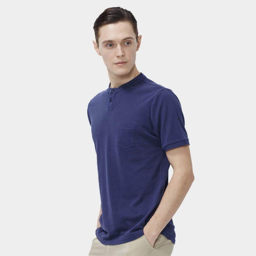 1ce5b77d ... Beverry Collar-less Round Neck Blue Polo Shirt (16ABC0041) ...