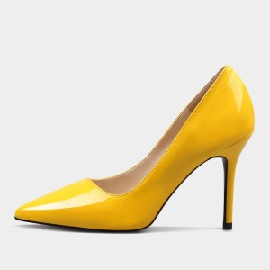 Weekend Bird Modern Chic Classics Leather Yellow Pumps (631JM0201)