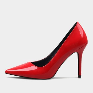 Weekend Bird Contemporary Patent Leather Red Pumps (631JM0202)