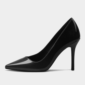 Weekend Bird Grand Touch Pointy Leather Black Pumps (631QC0211)