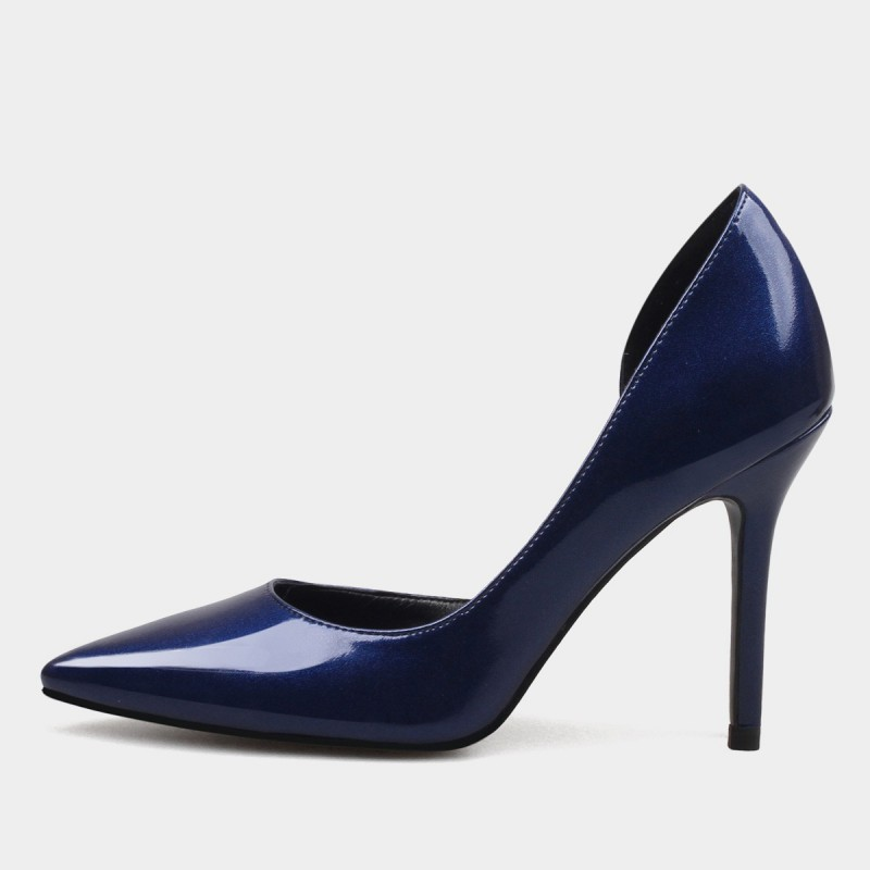 Weekend Bird Timeless Open Side Patent Leather Navy Pumps (631YH0107)