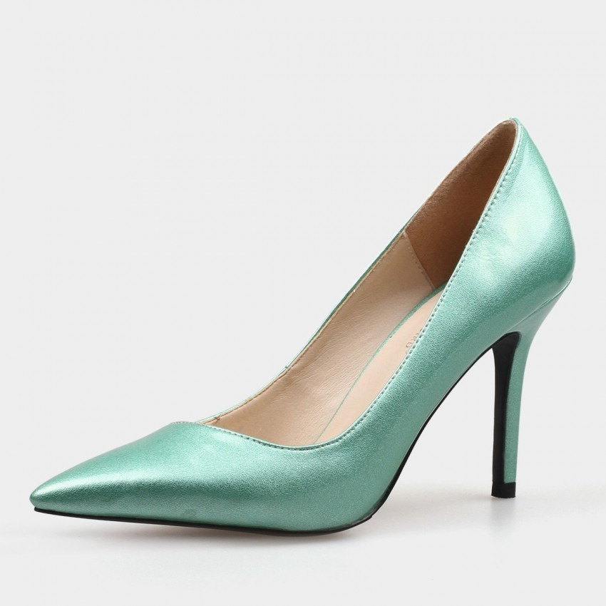 b6576af70fb ... Weekend Bird Mature Grand Leather Green Pumps (631YH0207) ...