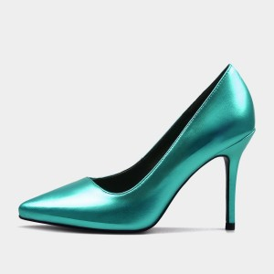 Weekend Bird Flamboyant Gesture Leather Green Pumps (631ZG0209)