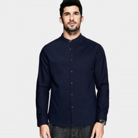 KUEGOU Asian Collar Dress Shirt Navy (FC-5866)