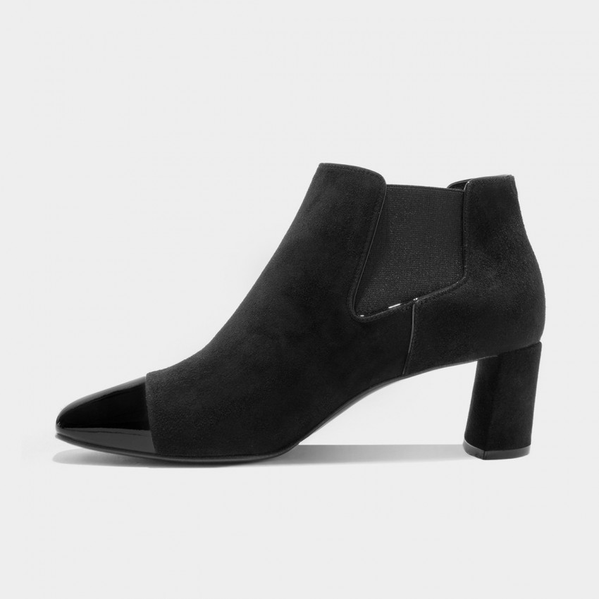 Jady Rose Sharp Toe Leather Black Boots (16DR10092)
