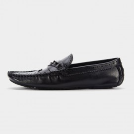 Herilios Five Stud Leather Black Loafers (H6105D51)