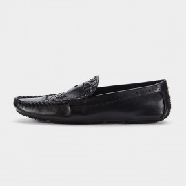Herilios Cut Out Band Leather Black Loafers (H6105D53)