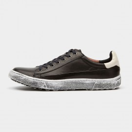 Herilios Dirt Crepe Sole Sheepskin Black Sneakers (H6105D57)