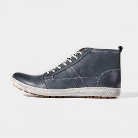 Herilios Topstitched All Through Leather Blue Sneakers (H6305G72)