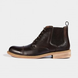 Herilios Zigzag Back Leather Coffee Boots (H6305G76)