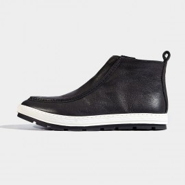 Herilios Contrasting Sole Leather Black Boots (H6305G79)