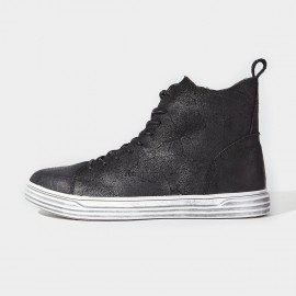 Herilios Slanting Zip Rough Leather Black Sneakers (H6305G89)