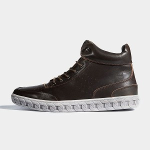 Herilios Chain Outsole Leather Coffee Hi-Tops (H6305G90)