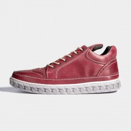 Herilios Classic Wing Tip Leather Red Sneakers (H6305G96)