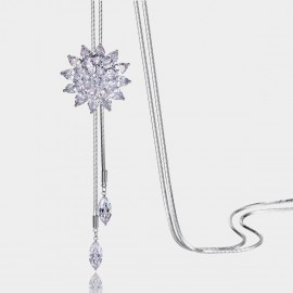 Caromay Blooming Snowflake Silver Long Chain (X0646)