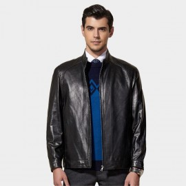 Beverry Classic Bold Seam Black Leather Jacket (11BA01)
