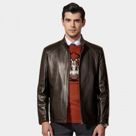 Beverry Classic Bold Seam Brown Leather Jacket (11BA01)