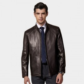 Beverry Classic Regular Fit Brown Leather Jacket (11BA01Q)