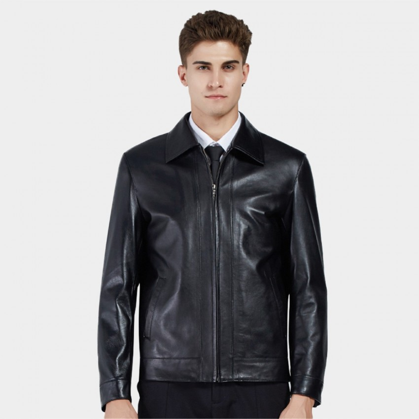 1d0f049997f85 Beverry Classic Spread Collar Black Leather Jacket (11BA03) - 0cm