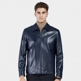 Beverry Classic Spread Collar Blue Leather Jacket (11BA03)