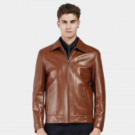 Beverry Classic Spread Collar Brown Leather Jacket (11BA03)