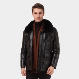Beverry Shearling Collar Quilted Black Leather Jacket (12BB93089)