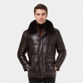 Beverry Shearling Collar Quilted Coffee Leather Jacket (12BB93089)