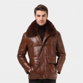 Beverry Shearling Collar Quilted Brown Leather Jacket (12BB93089)
