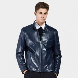 Beverry Neat Cut Hem Blue Leather Jacket (13BA007)