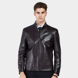 Beverry Neat Cut Hem Coffee Leather Jacket (13BA007)
