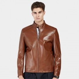 Beverry Neat Cut Hem Brown Leather Jacket (13BA007)