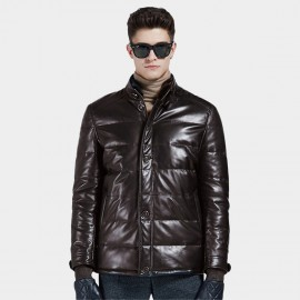 Beverry Double Closure Quilted Coffee Leather Jacket (13BA1316A)