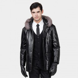 Beverry Shearling Hood Four Pocket Black Leather Jacket (13BB1027)