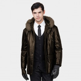 Beverry Shearling Hood Four Pocket Brown Leather Jacket (13BB1027)