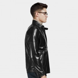Beverry Modern Topstitch Black Leather Jacket (14BA008Q)
