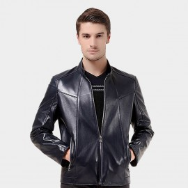 Beverry Modern Topstitch Blue Leather Jacket (14BA008Q)